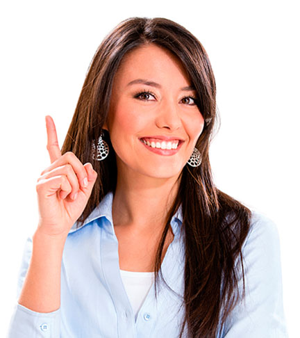 Smiling lady pointing her finger